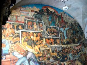 Detail of The History of Mexico showing betrayed revolution in the Mexican capital building