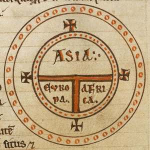 """T-O style Medieval map of the world, centered on Jerusalem, showing Christ's dominance in the """"four corners"""" of the world."""