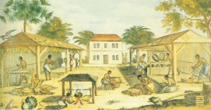 Slaves processing tobacco in 17th-century Virginia